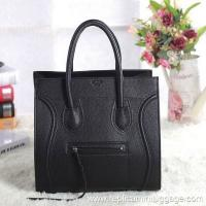 Celine Luggage Phantom Bag Pebbled Leather Black Manufactures