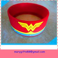 China 1 inch debossed silicone bands with color on sale