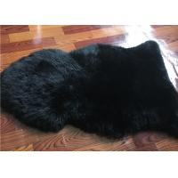 Dyed Black Sheepskin Fleece Blankets Soft Warm For Children Room Bed Decoration  Manufactures