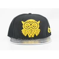 Quality Fashion Acrylic And Leather Flat Bill Hats With Yellow Logo , Summer Baseball for sale