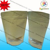Stand Up Ziplock Brown Kraft Customized Paper Bags With Window For Snack Packaging Manufactures