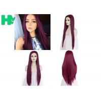 Cosplay Long Straight Hairnet Wig Synthetic Pure Red Color For Women Wave Party Manufactures