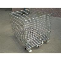 China 50mm * 50mm Wire Mesh Containers 4 Wheels Folding Wire Containers With Pulls on sale