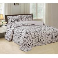 Silky Bed Sheet 4 Piece Bedding Set Luxurious With English Letters Printed Manufactures
