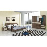 Walnut wood home bedroom furniture sets by curved headboard bed and full mirror stand Manufactures