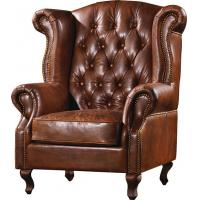 Durable High Back Leather Armchair Vintage Top Grain Brown