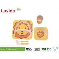 China Shatter Proof Bamboo Childrens Dinner Set , BPA Free 5 Pieces Bamboo Fibre Kids Set on sale
