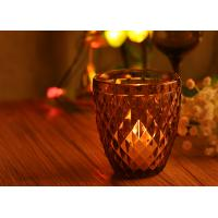 Beautiful Diamond Embossed Pattern Color Glass Votive Candle Holders