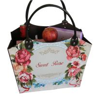China Sweet Rose Pu Leather Log Basket Wine Fruit Book Comestic Laundry Storage Shopping Basket for Wholesale on sale