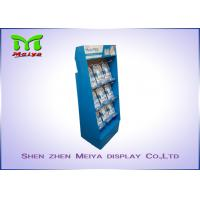 UV coating blue color custom cardboard displays rack with plastic hooks for Mani Pedi Manufactures