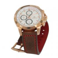 China Six Hands steel Case Leather Wrist Watch rose gold Plated for Men on sale