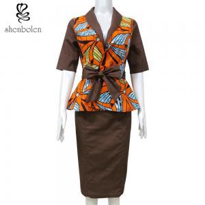 Brown Suit Women African Print Dresses Half Sleeve Batik Fabric Summer Women Manufactures
