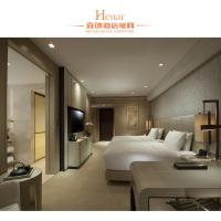Wood And plywood Simple Hotel Bedroom Furniture Double Bed Size Manufactures