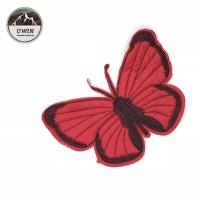Red Butterfly Custom Chenille Patches Sew On Style 21*14.5CM Size For Work Blouse Manufactures