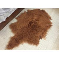 Soft Curly Long Hair Large White Sheepskin Rug 100% Mongolian / Tibetan Lamb Fur Manufactures