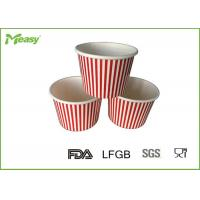 150ml Red Stripe Ice Cream Paper Cups For Children Party , SGS LFGB certification Manufactures