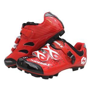 Custom Waterproof Cycling Footwear , Waterproof Flat MTB Shoes Red Color Manufactures