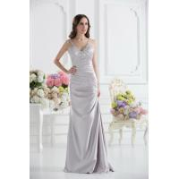 Sexy Silver V Neckline Strap Mermaid Long Evening Dress Prom Gowns Beads Manufactures