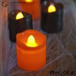 Black Orange Plastic Halloween LED Tea Light Candles 6 Set RoHS Manufactures