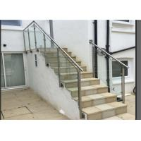 Side Mount Glass Balustrade Stainless Steel Handrails , Steel And Glass Stair Railing Manufactures
