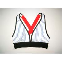 Blue Stripe Polyester Sporty Vest High Cup Across Strap Contrasted Binding Manufactures