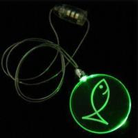 Circle Plastic Flashing Necklaces, Measures 42mm, with Round Pendent and Jade LED Manufactures