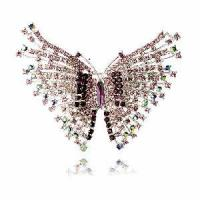 China Fashion Costume Crystal Jewelry Brooch with Butterfly Shaped (BH-015) on sale