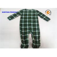 Grid AOP Baby Pram Suit YKK Zipper Closure 100% Polyester Micro Fleece Coverall Manufactures