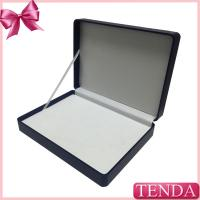 China White Brown Black Blue Hinged Ribbon Package Leatherette Leather Box with PVC PET Blister on sale