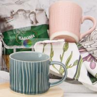 ceramic 320ml mug crackle glaze household cup drinking cup coffee cup embossed mug Manufactures