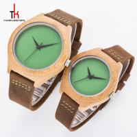 Oem Bamboo Case Quartz Lover Couple Watch With Green Red Blue Face Manufactures