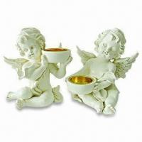 Polyresin Guard Angel Christmas Candleholders, Customized Designs are Accepted Manufactures