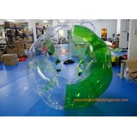 Soft Handle / Safe Belt Inflatable Green half-color bumper ball  with SGS CE Certification