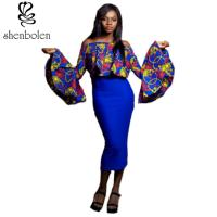 Women ' S Latest African Fashion Dresses Long Sleeve Pullover Off Shoulder Manufactures