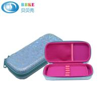 Quality Blue Flowers OEM PU EVA Pencil Case With 5# Nylon Zipper For School Students for sale
