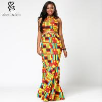 Ankara Hollow Out Halter African Print Maxi Dresses , Latest African Fashion Dresses Manufactures