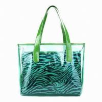 China Spring Fashion Transparent Transparent Pvc Bag Beach Bag With Polyester Inner Pocket on sale