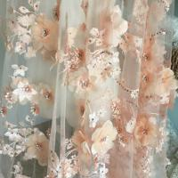Luxury 3D Floral Beaded Bridal Lace Fabric , Scalloped Edge Wedding Gown Lace Fabric Manufactures