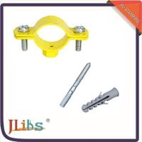 China Durable Yellow Painting Pipe Holder Bracket , Round Pipe Clamps 20mm Width on sale