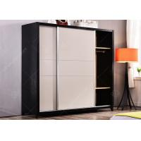 Quality Hotel Apartment Furniture Sets , Space Saving Free Standing Wardrobe Stainless Steel Strip Sliding Door for sale