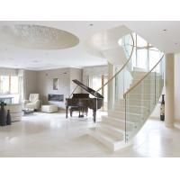 Stainless steel straight staircase with marble tread glass balustrade Manufactures
