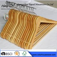 Hotel Natural Wooden Hangers / Jacket Coat Hangers With Chrome Round Hook