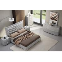 High Gloss King Bedroom Furniture Sets , Solid Wood Bedroom Furniture Fabric / PU Cover Manufactures