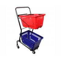 China Powder Coated Two Tier Shopping Cart / Double Basket Shopping Cart 50-240L Volume on sale