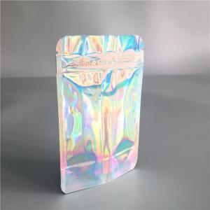 China Iridescent Clear Front Aluminum Foil Bags Ziplock Hologram For Eyelash / Brush on sale