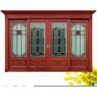 China Red  Carve patterns solid Wooden Automatic telescoping sliding doors on sale
