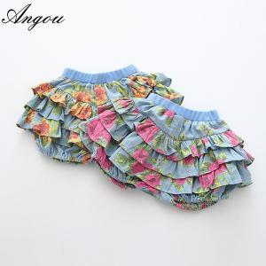 Buy cheap Angou Summer Style Kids Girls Floral Pattern Short Pants Cuffed Leg Cotton Bottoms Trouser from wholesalers