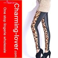 China High quality Leopard front sexy leggings sexy faux leather pantyhose winter tights pattern leggings on sale