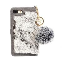 Flip Wallet Fur Leather Phone Case for iPhone 7Plus, For iPhone 8 Plus Fur Wallet Case Manufactures
