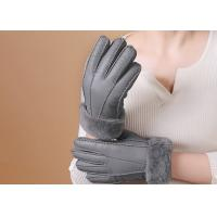 Double Face Leather Mittens Sheepskin Lined , Windproof Sheepskin Driving Gloves Manufactures